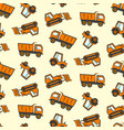 cute kids pattern with flat orange dozer tractor vector image vector image