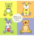 cute stuffed animals vector image vector image