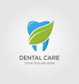 dental care or dentist logo designs with leaf vector image