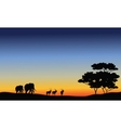 Elephant and antelope silhouette vector image