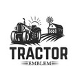 farmers market emblem template with tractor vector image