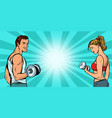 fitness sports background man and woman with vector image