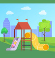 girl on playground child rools slide vector image