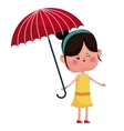 girl wink with red umbrella vector image