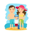 Happy family at beach vector image vector image