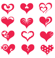 hearts collection of symbols vector image vector image