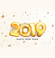 holiday new year card 2019 - golden balloons vector image vector image