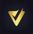 letter v check gold logo vector image vector image