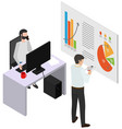 man studies statistics shown on diagram and makes vector image vector image