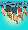 many hands pointing out from the clouds vector image