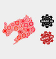 mosaic liaoning province map gear items and vector image vector image