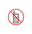 no phone line icon prohibition sign forbidden vector image vector image