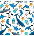 ocean animals cartoon seamless background vector image