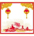 old paper with Samurai silhouette and Chinese vector image vector image