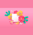 pink papercut flower butterfly background template vector image vector image