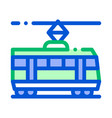 public transport tramway thin line icon vector image vector image