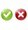 Red and Green Check Mark Icon Button vector image