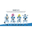 robot sit on chair in queue wait for job interview vector image
