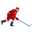 russia hockey player in red dress on white vector image vector image
