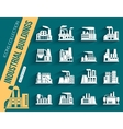 set industrial manufactory buildings icons set vector image
