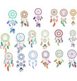 set multicolored boho dreamcatchers isolated vector image