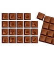 set of chocolate bars with icons of food vector image