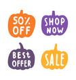 set sale badges pumpkins silhouette vector image vector image