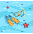 snorkeling equipment with blue sea water vector image vector image