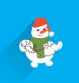 snowman wear red hat hold wrapped gift box present vector image vector image