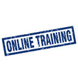 square grunge blue online training stamp vector image vector image