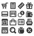 supermarket shopping icons set on white background vector image vector image