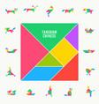 tangram puzzle square set triangle vector image