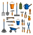 Various of gardening tools and equipments symbols vector image