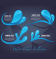 water stickers and symbols on dark background vector image