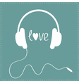 White headphones with cord Dash line Love card vector image vector image