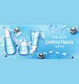winter cosmetic christmas gifts mock up banner vector image vector image