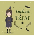 Little cute witch Halloween poster background vector image