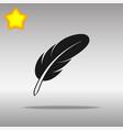 feather black icon button logo symbol vector image
