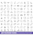 100 tourism icons set outline style vector image vector image