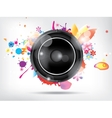 Abstract bckground with subwoofer and floral vector image vector image
