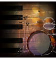 abstract brown grunge music background with drum vector image vector image
