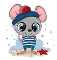 bacartoon mouse in sailor costume vector image vector image