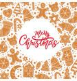background merry christmas gingerbread cookies vector image vector image