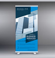 blue display roll up banner design standee vector image vector image