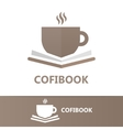 book and a cup of coffee logo concept vector image vector image