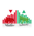 bull and bear paper art with green and red bar vector image