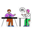 business meeting worker boss and employee vector image vector image