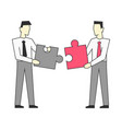 businessmen standing and join puzzle vector image vector image