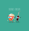 cartoon fast food friends forever vector image vector image