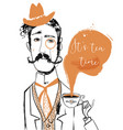 cartoon gentleman with tea cup vector image